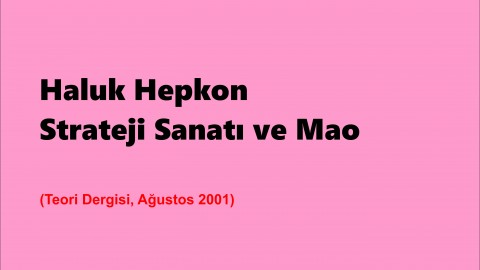 STRATEJİ SANATI VE MAO